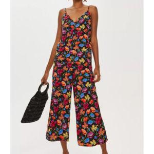 Topshop Floral Sleeveless Jumpsuit Wide Leg Sz 2